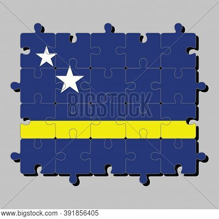 Jigsaw Puzzle Of Curacao Flag In Blue Field With A Horizontal Yellow Stripe Slightly Below The Midli