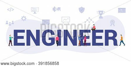 Engineer Concept With Modern Big Text Or Word And People With Icon Related Modern Flat Style
