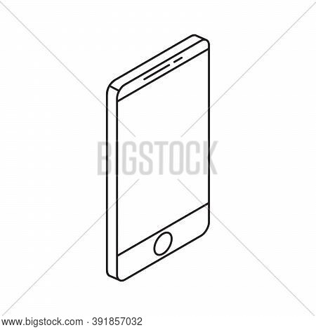 Smartphone From Right View Single Isolated Icon With Line Or Outline Style And Isometric Shape