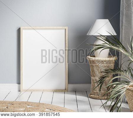 Mock Up Frame With Minimal Decor Close Up In Home Interior Background, 3d Illustration