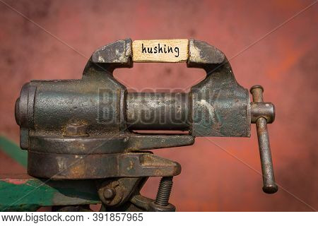 Concept Of Dealing With Problem. Vice Grip Tool Squeezing A Plank With The Word Hushing