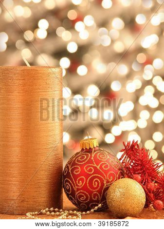Christmas Decorations With Ornaments And Lights