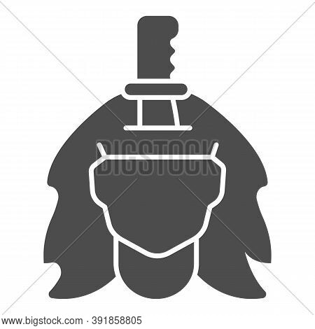Knife In Girl Head Solid Icon, Halloween Concept, Perforated Head Sign On White Background, Severed