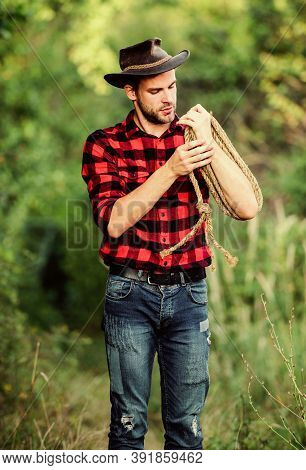 Ranch Owner. Lasso Tool. American Cowboy. Lasso Tied Wrapped. Western Life. Attle Breeding Concept.