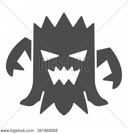 Stump With Face Solid Icon, Halloween Concept, Talking Tree Sign On White Background, Scary Stub Ico