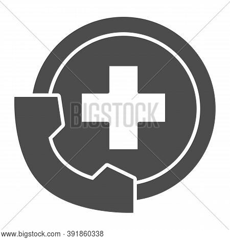 Handset And Medicine Cross Solid Icon, Medical Concept, Emergency Call Sign On White Background, Han