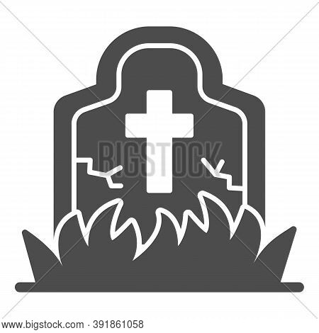 Abandoned Grave Solid Icon, Halloween Concept, Grave Overgrown With Grass Sign On White Background,