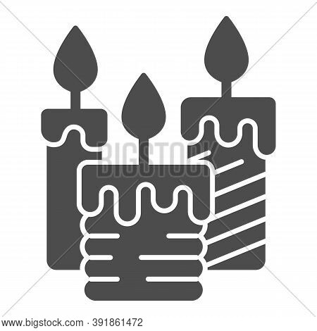 Three Burning Candles Solid Icon, Illumination Concept, Candle Sign On White Background, Wax Candle
