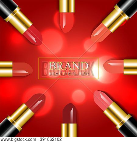 Luxury Red Shade Lipstick Vector Illustration With Bokeh