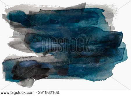 Textured Black And Blue Watercolor Paint Brush Stroke, Eps 10 Vector Illustration Isolated On White