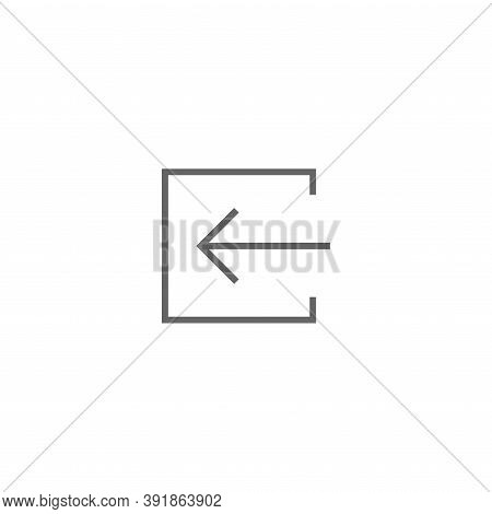 Exit Or Logout, Log Off Icon. Isolated On White. Black Right Thin Arrow With Bracket.