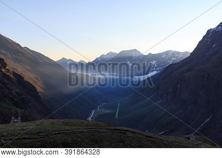 Valley And Mountain Panorama In The Morning At Sunrise In Tyrol Alps, Austria