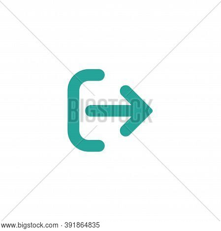 Exit Or Logout, Log Off Icon. Isolated On White. Blue Right Rounded Arrow With Bracket.
