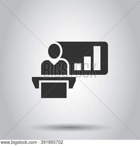 People On Podium Icon In Flat Style. Speaker Vector Illustration On White Isolated Background. Audie