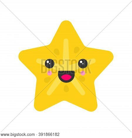 Cute Smiling Exotic Carambola, Isolated Colorful Vector Fruit Icon