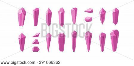 Pink Crystals And Minerals Isolated In White Background. Big Set Of Amethyst Crystals And Their Piec