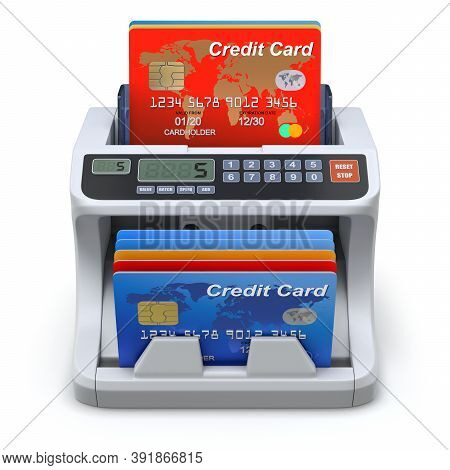 Money Counter With Credit Cards - 3d Illustration
