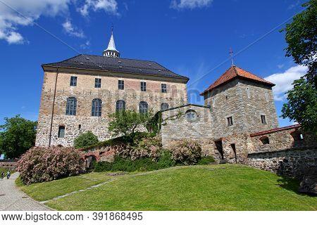 Oslo, Norway - 27 Jun 2012: Akershus Castle, Fortress In Oslo, Norway