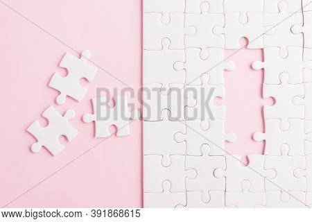 Top View Flat Lay Of Paper Plain White Jigsaw Puzzle Game Texture Incomplete Or Missing Piece, Studi