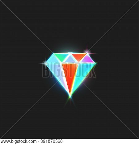 Diamond Logo Is A Bright Gem With Colorful Facets And Sparks, Creative Emblem For A Glamorous Jewelr