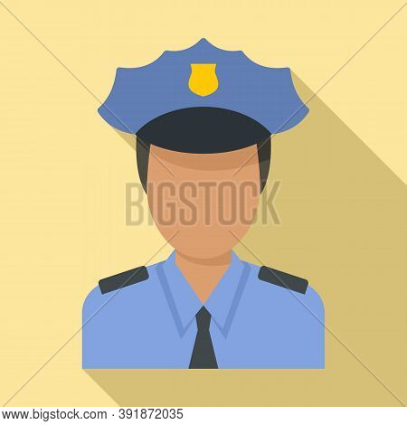 Airport Police Officer Icon. Flat Illustration Of Airport Police Officer Vector Icon For Web Design
