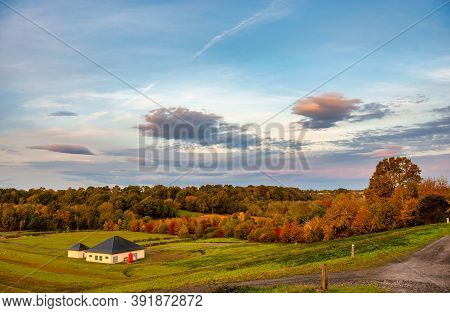 Autumn Color In The French Countryside, Pyrenees Atlantiques