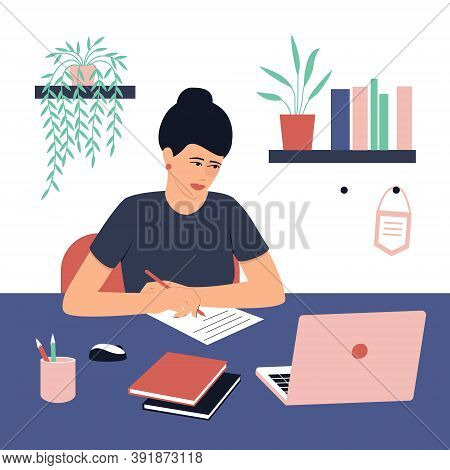Student Girl Doing Homework. A Laptop And Book Are On The Table. Concept For Learning At Home In Iso