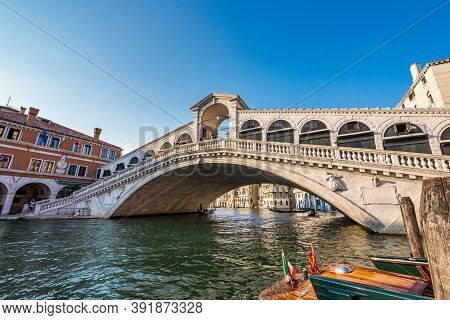 Venice, Italy - Jun 29, 2020: Rialto Bridge And Grand Canal In Venice, Italy. Architecture And Landm