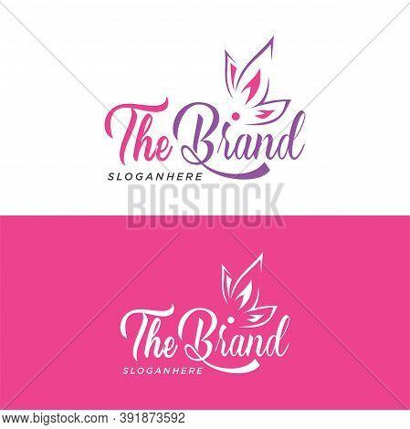 Butterfly Logo Saloon Design Vector Stock. Spa And Cosmetics Salon Beauty Logo Design Concept Templa
