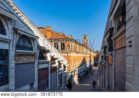 Venice, Italy - Jun 30, 2020: Rialto Bridge And Grand Canal In Venice, Italy. Architecture And Landm