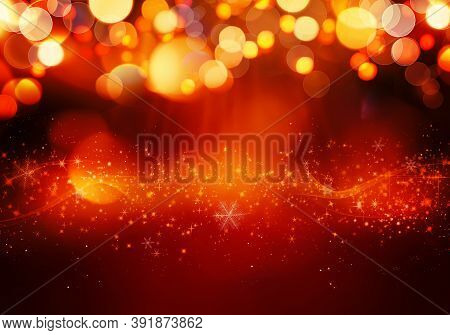 Golden Red Christmas Or New Year Background With Glitter, Snowflakes, Stars, Bokeh Gold Lights On Th