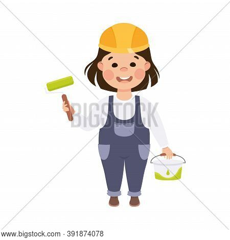 Cute Builder With Roller Brush And Pail Of Paint, Little Girl Painter Character In Hard Hat And Blue