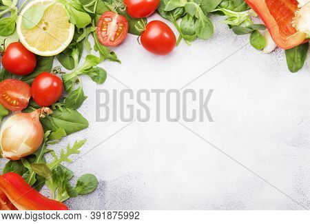 Healthy Food Background With Various Green Herbs And Vegetables. Ingredients For Cooking Salad. Vege