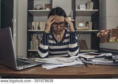 Unemployed Woman From The Spread Of Covid-19 Feeling Tire And Headache. Stressed Businesswoman, Frus