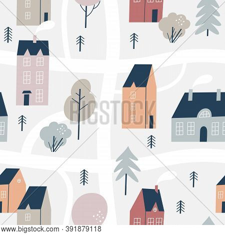Hand Drawn Houses For Winter, New Year And Christmas Fabrics And Decor. Northern Town. Seamless Patt