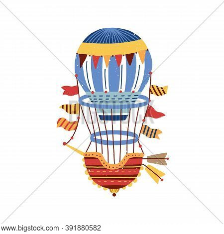 Colorful Vintage Hot Air Balloon Isolated On White Background. Hand Drawn Aerial Transport For Trave