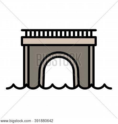 Columns Bridge Icon. Outline Columns Bridge Vector Icon For Web Design Isolated On White Background