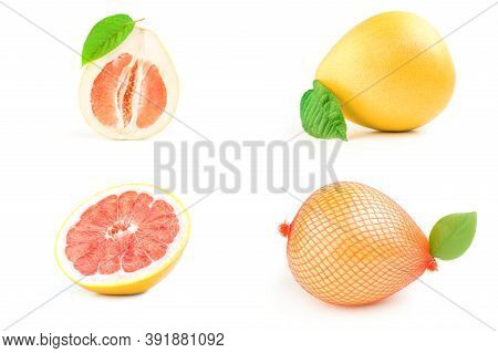 Collection Of Pompelmoes Isolated Over A White Background