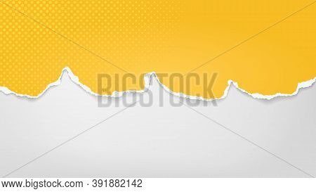 Piece Of Torn Yellow Paper With Dotted Pattern Is On White Transparent Background For Text, Advertis