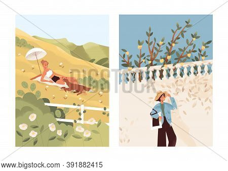 Solitude Concept. Female In Bikini Sunbathing With Dog In Meadow. Relaxed Happy Woman Walking Alone