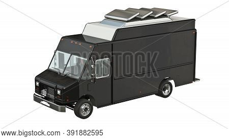 Food Truck Mobile Eatery With Open Doors. 3d Isolated White Background