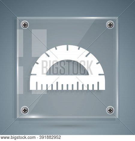 White Protractor Grid For Measuring Degrees Icon Isolated On Grey Background. Tilt Angle Meter. Meas