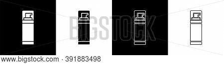 Set Shaving Gel Foam Icon Isolated On Black And White Background. Shaving Cream. Vector