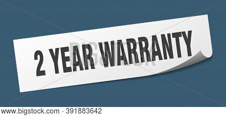 2 Year Warranty Sticker. 2 Year Warranty Square Isolated Sign. 2 Year Warranty