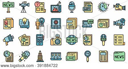 Reportage Icons Set. Outline Set Of Reportage Vector Icons Thin Line Color Flat On White