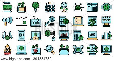 Monetization Icons Set. Outline Set Of Monetization Vector Icons Thin Line Color Flat On White