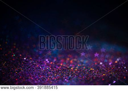 Decoration Bokeh Lights Background, Abstract Blurred Backdrop With Stars, Modern Design Wallpaper Wi