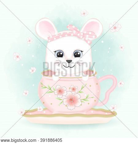 Baby Mouse In Coffee Cup And Butterflies Hand Drawn Cartoon Animal Watercolor Illustration