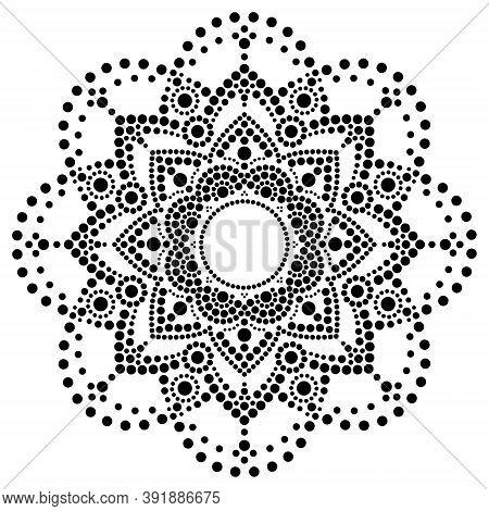 Dot Art Vector Ethnic Mandala, Traditional Aboriginal Dot Painting Design, Indigenous Decoration Fro