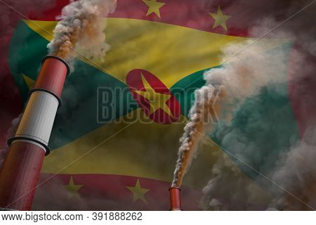 Grenada Pollution Fight Concept - Two Large Industrial Chimneys With Heavy Smoke On Flag Background,